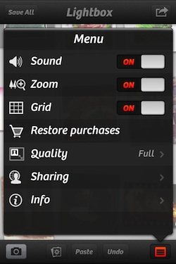 Lightbox menu